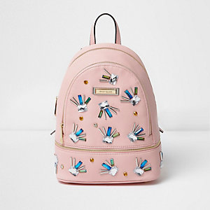 Pink jewel embellished mini backpack
