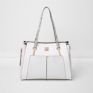 White pocket snake handle tote bag