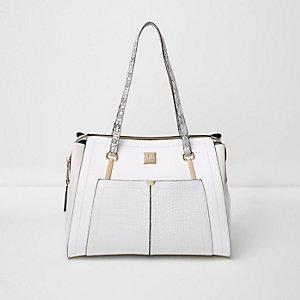 Witte handtas met handvat en vakje van slangeffect