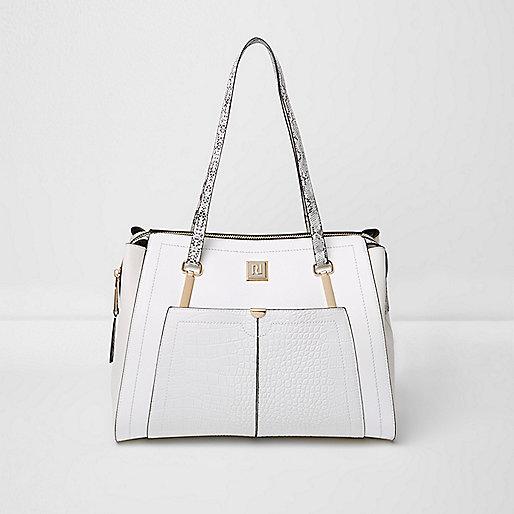 White pocket snake handle tote bag