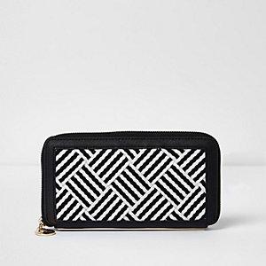 Black woven stripe zip around purse
