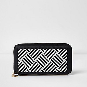 Black woven stripe zip around purse