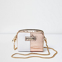 White metallic mini cross body chain bag