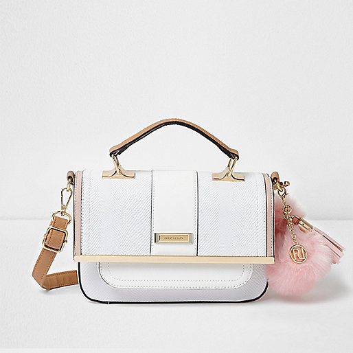 White pom pom cross body satchel bag
