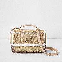 Beige woven mini cross body satchel bag