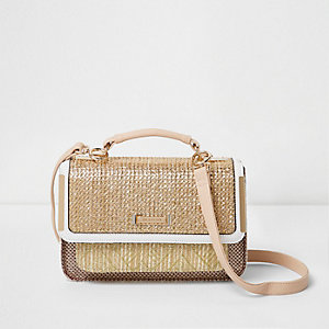 Beige woven mini cross body satchel bag