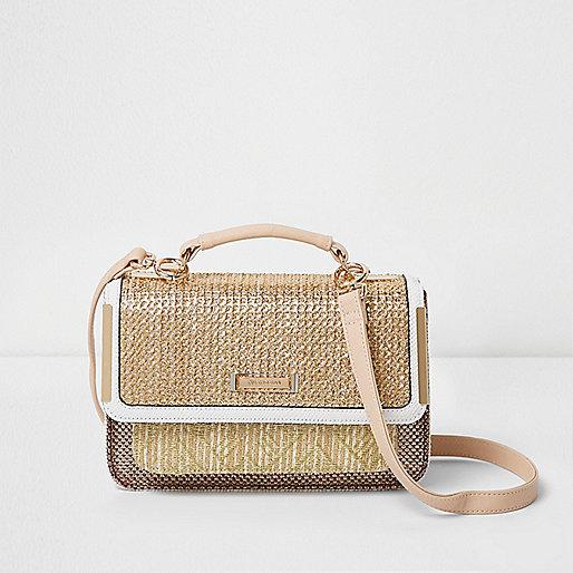Mini sacoche tissée beige à bandoulière