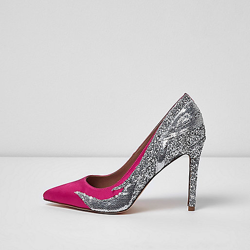 Pink sequin and glitter court shoes