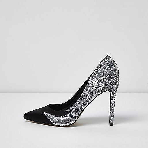 Black sequin and glitter pumps