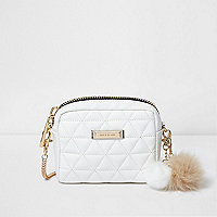 White quilted pom pom mini cross body bag