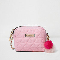 Pink quilted mini cross body chain bag