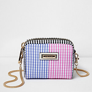 Blue gingham print mini cross body chain bag