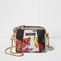 Black floral panel mini cross body chain bag