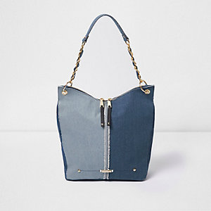 Blue denim panel underarm slouchy chain bag