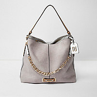 Grey chain front slouch underarm bag