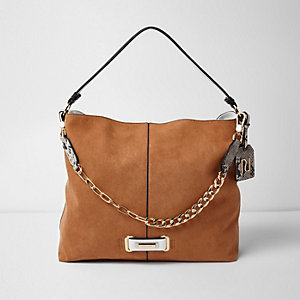 Tan chain front slouch underarm bag