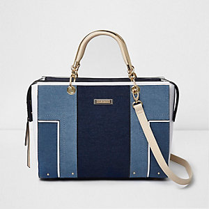 Blue denim panel tote bag