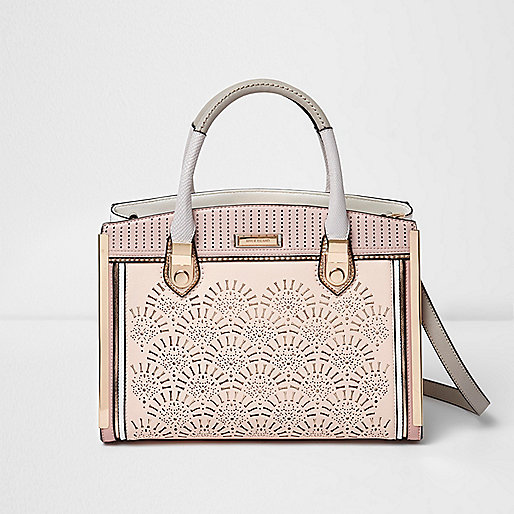 Beige laser cut panel tote bag