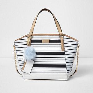 Witte handtas met zij-inzetten en strepenprint