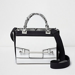 White front lock pocket tote shoulder bag