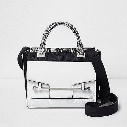 White front lock pocket tote shoulder bag