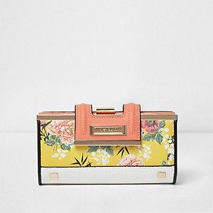 Gelbe Geldbörse mit Blumen und Clipverschluss oben