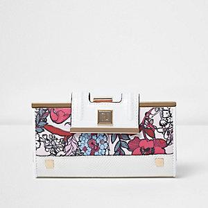 White floral print clip top purse