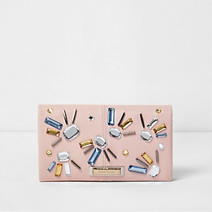 Pink embellished foldover purse