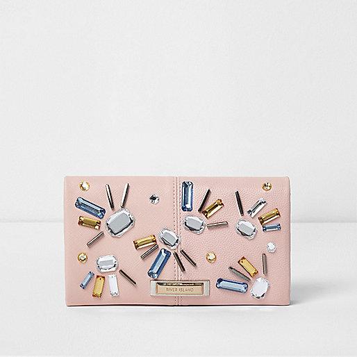 Pink embellished foldover purse