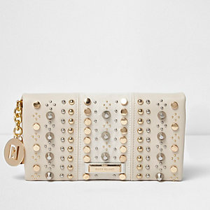 Cream studded foldover purse