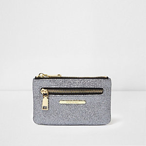 Grey glitter zip front mini purse