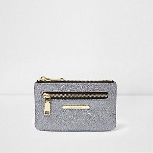 Mini porte-monnaie gris pailleté zippé