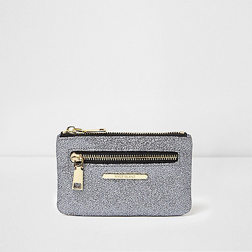 Grey glitter zip front mini purse