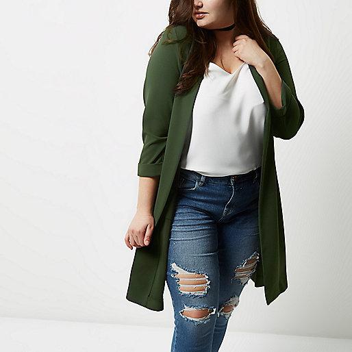 Plus khaki green split back duster coat