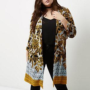 Manteau long Plus à fleurs jaune à ceinture nouée dans le dos