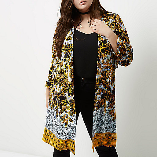Plus yellow floral print tie back duster coat
