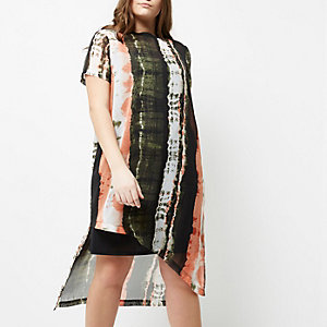Plus orange and khaki tie dye T-shirt dress