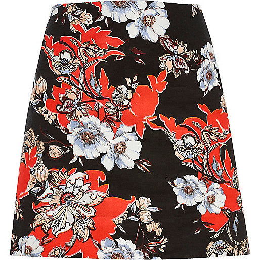 Black and orange floral mini skirt