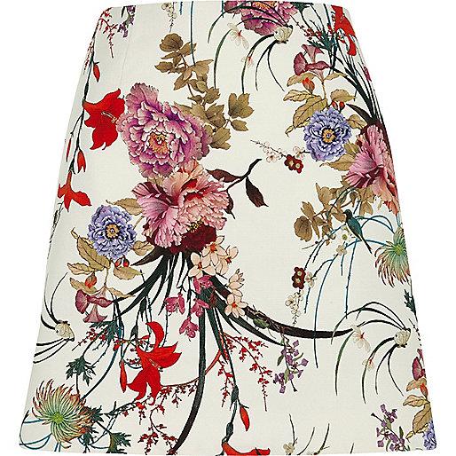 Cream floral print mini skirt