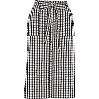 Black gingham button through midi skirt