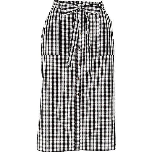 Black gingham button through midi skirt