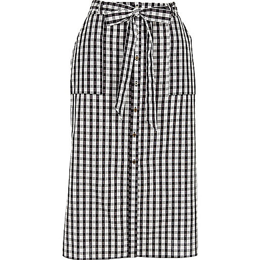 Black gingham button down midi skirt