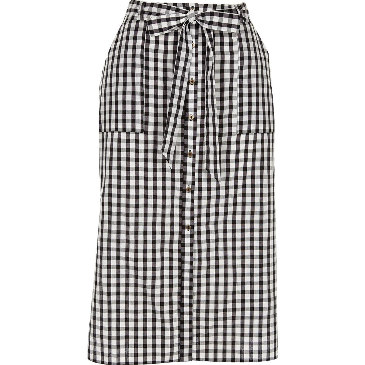 Black gingham button down midi skirt