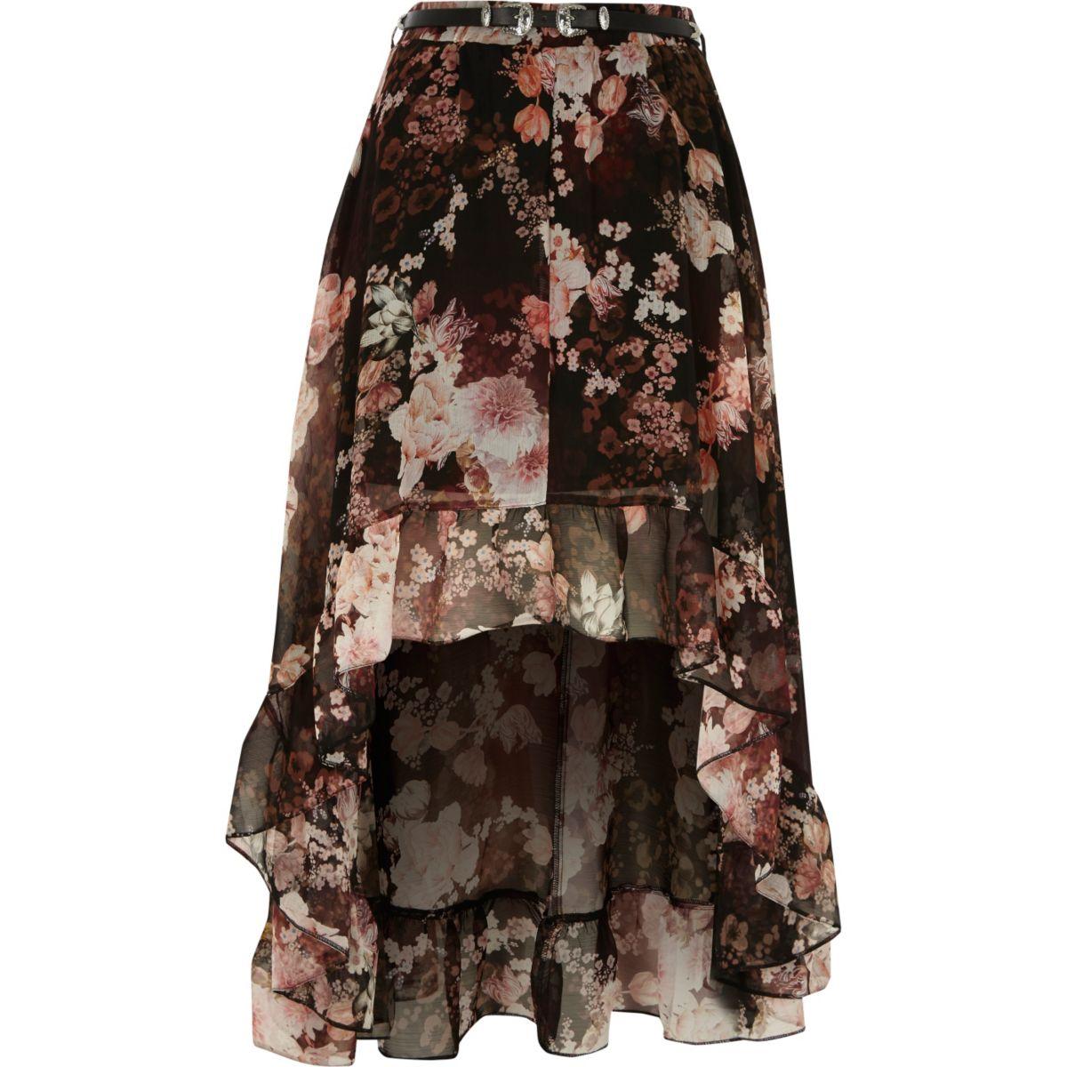 Zwarte asymmetrische rok met bloemenprint en volant
