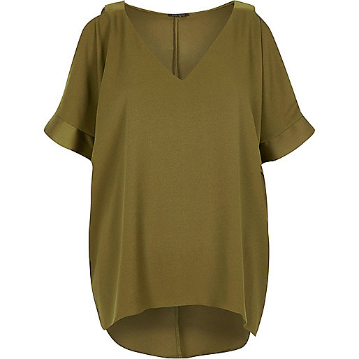 Khaki green cold shoulder T-shirt