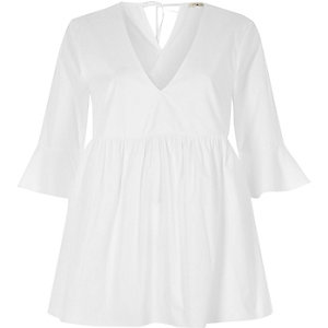 White tie back smock top