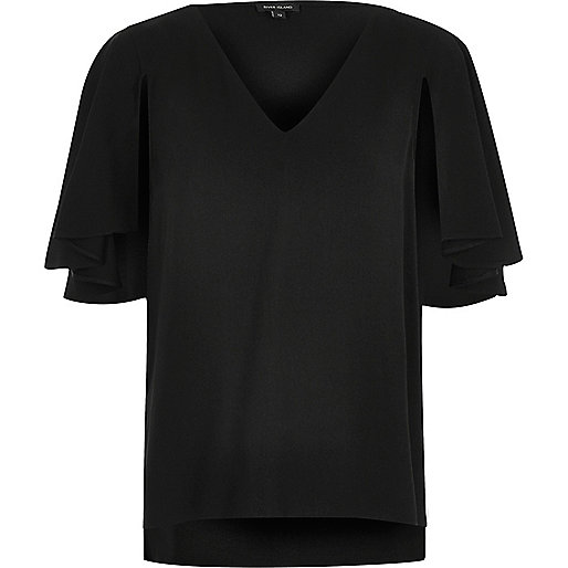 Black cape sleeve top
