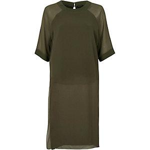 Khaki green chiffon side split longline top
