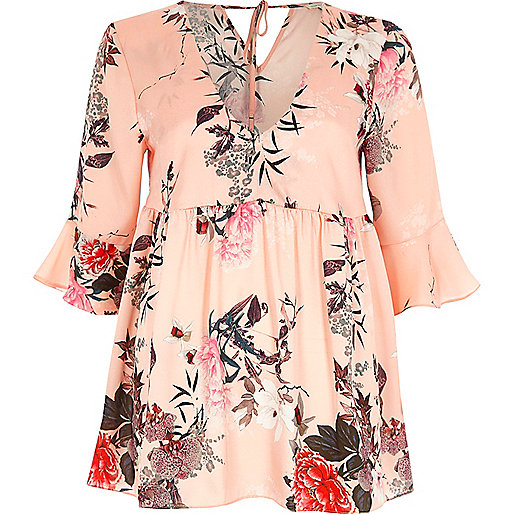 Pink satin floral print smock blouse