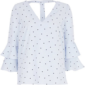 Blue stripe star print blouse